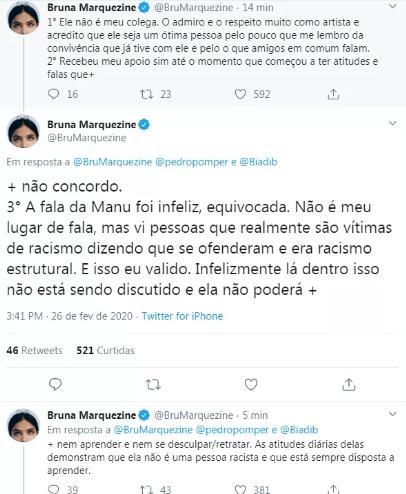 """Bruna Marquezine comenta fala de Manu no BBB20 considerado racista: \""""Infeliz\"""""""