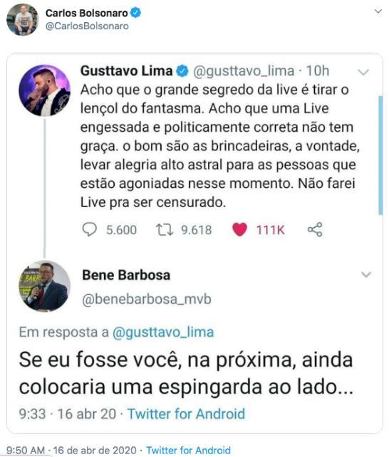 Filhos de Bolsonaro saem em defesa de Gusttavo Lima após ele desistir de lives