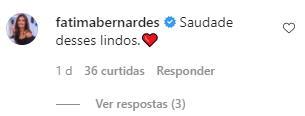 Fátima Bernardes reage a foto do filho com namorada em Paris