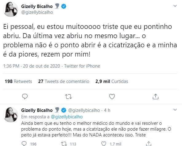 Ex-BBB Gizelly Bicalho pede orações após complicações em cirurgia no seio