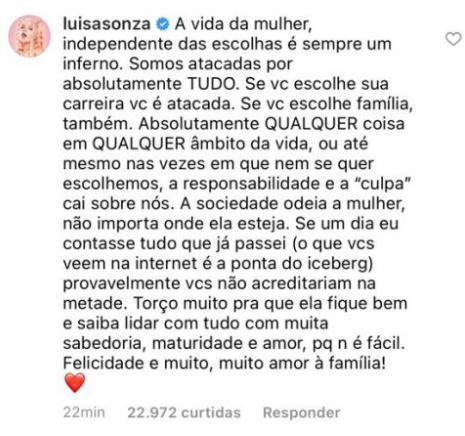 Luísa Sonza reage após anúncio de que Whindersson Nunes será papai