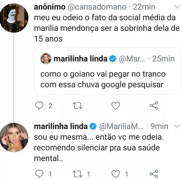 """Marília Mendonça rebate seguidor que criticou conteúdo de sua rede social: \""""Me odeia\"""""""