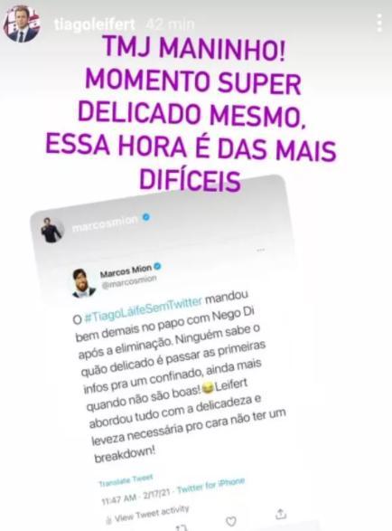 Tiago Leifert recebe elogio de Marcos Mion por postura no BBB21 e responde