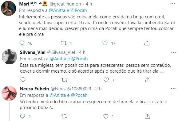 """BBB21: Anitta manda recado para Pocah após briga polêmica com Gilberto: \""""Volta a dormir\"""""""