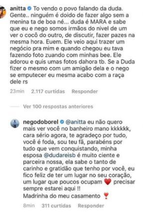 """Após foto sexy com Nego do Borel, Anitta rebate críticas: \""""Duda está de boa\"""""""