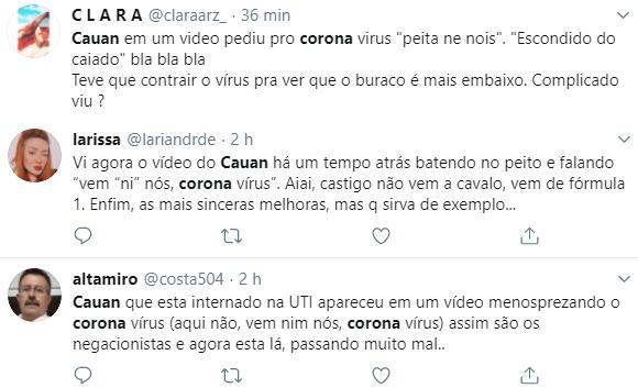 """Internado com coronavírus, sertanejo Cauan já zombou da doença: \""""Vem em nós\"""""""