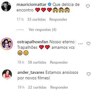 """Renato Aragão se reúne com Dedé Santana e avisa: \""""Vem coisa boa por aí\"""""""