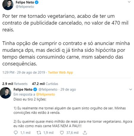 Felipe Neto perde grande contrato por se assumir vegetariano e desabafa