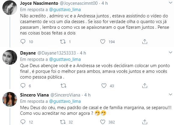 Gusttavo Lima confirma fim do casamento com Andressa Suita; ex-cunhado alfineta
