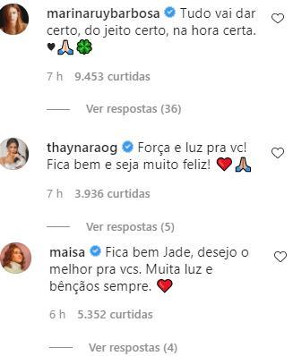 Jade Magalhães recebe apoio de famosos após confirmar separação de Luan Santana
