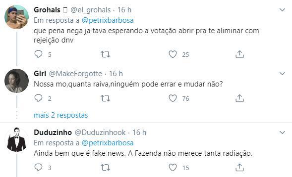 """Ex-BBB Petrix se pronuncia sobre suposta participação em A Fazenda: \""""Fake news\"""""""