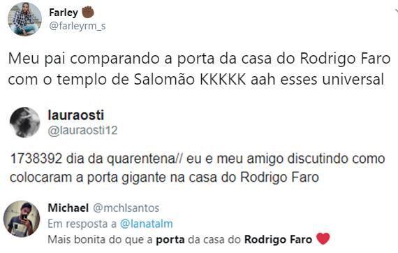 """Porta gigante da mansão de Rodrigo Faro vira meme na web: \""""Templo de Salomão\"""""""
