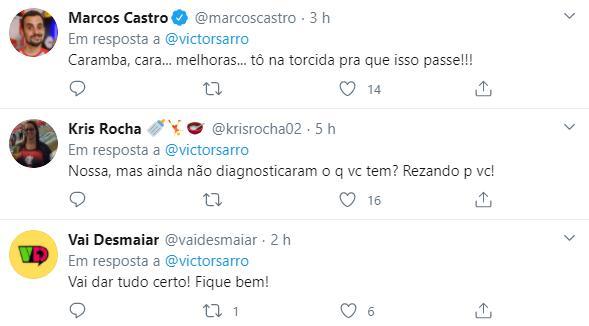 """Victor Sarro desabafa após voltar a passar mal: \""""Precisei de morfina\"""""""