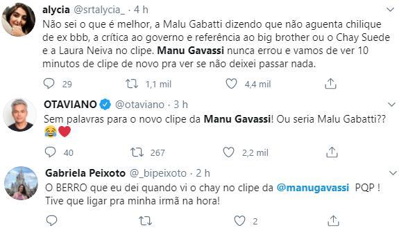 Manu Gavassi surpreende ao lançar clipe com participação do ex Chay Suede e sua esposa