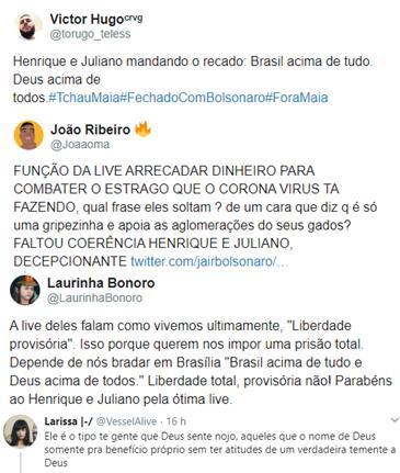 Henrique E Juliano Encerram Live Com Slogan De Jair Bolsonaro E