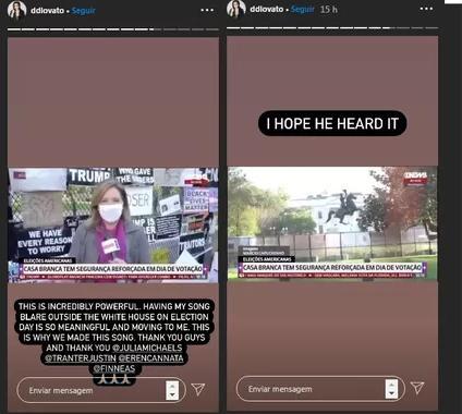 Demi Lovato compartilha vídeos da GloboNews sobre cobertura das eleições