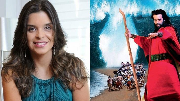 Montagem com fotos de Vivian de Oliveira e cena de Os Dez Mandamentos