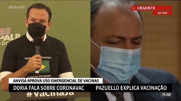 Reprodução de tela dividida da GloboNews com João Dória e general Pazuello