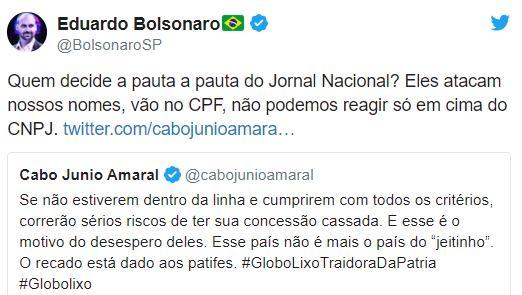 Eduardo Bolsonaro ataca a Globo e Danilo Gentili reage