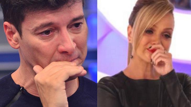 Rodrigo Faro emocionado com mão na boca; Eliana emocionada com mão na boca