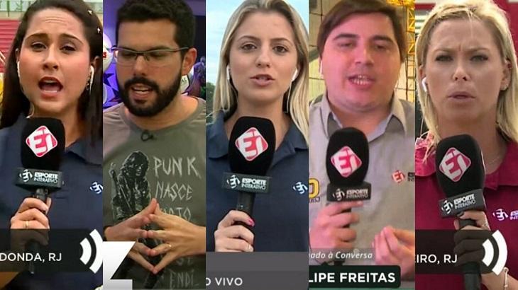 Montagem com repórteres do Esporte Interativo