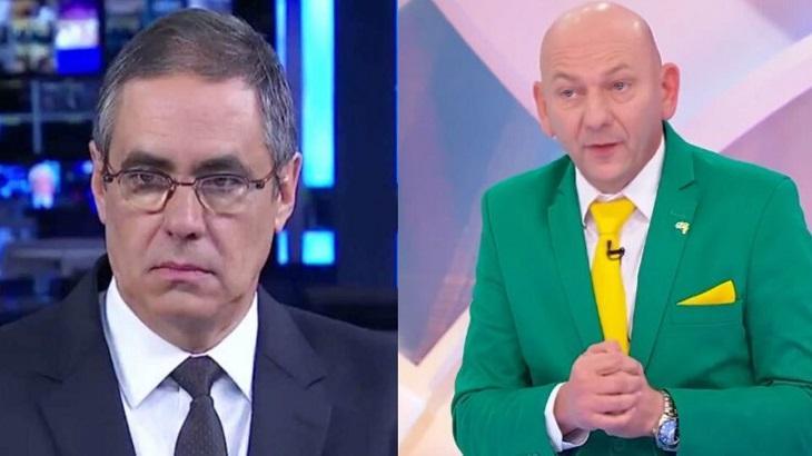 Tela dividida entre Fabio Pannunzio e Luciano Hang
