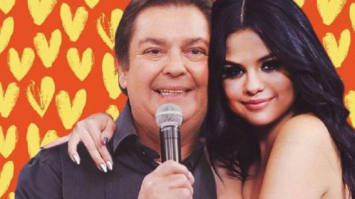 Foto montagem de Faustão abraçado com Selena Gomez