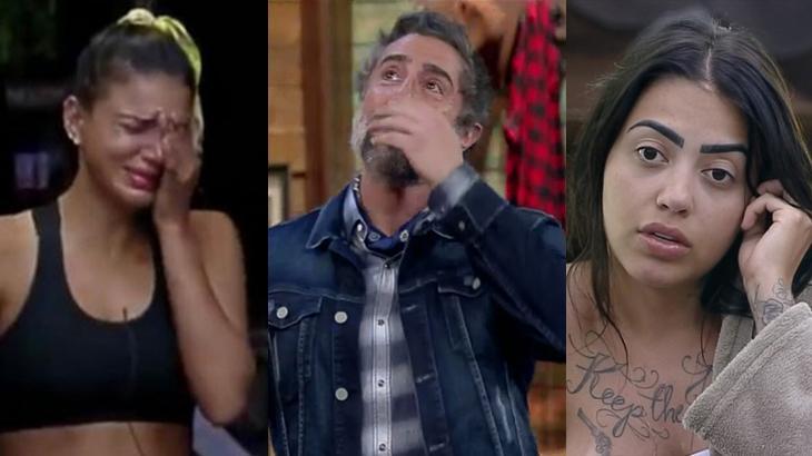 Montagem de Jakelyne Oliveira e Marcos Mion chorando, levando a mão no rosto, e Mirella com a mão na orelha