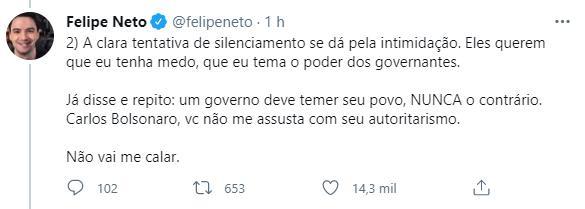 """Justiça derruba investigação contra Felipe Neto por chamar Bolsonaro de \""""genocida\"""""""