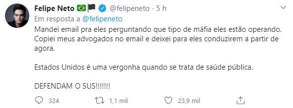 Felipe Neto reclama de cobrança de R$ 17 mil por consulta nos EUA