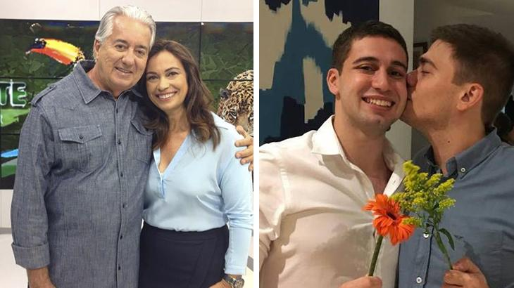 Os jornalistas Francisco José e Beatriz Castro e Pedro Figueiredo e Erick Rianelli em montagem do NaTelinha