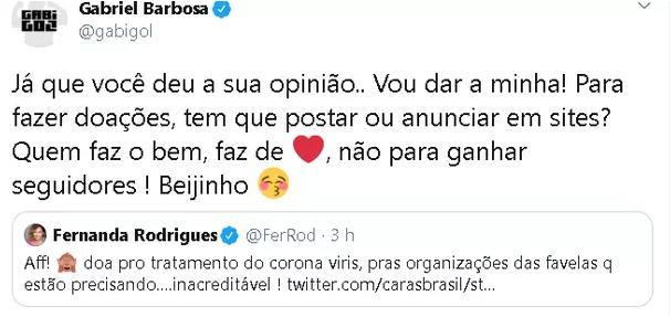 Gabigol e Fernanda Rodrigues tretam em rede social por BBB20 e coronavírus