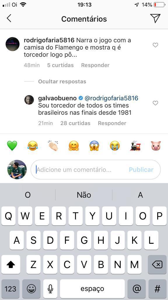 Torcedor pede para Galvão Bueno narrar final com camisa do Flamengo e leva resposta