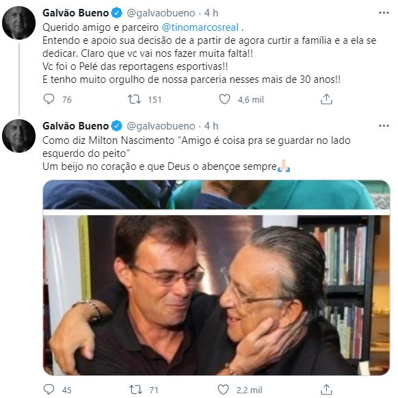 """Galvão Bueno se despede de Tino Marcos após saída da Globo: \""""Pelé das reportagens\"""""""