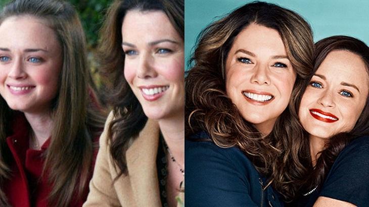 Lorelai e Rory antes e depois em Gilmore Girls