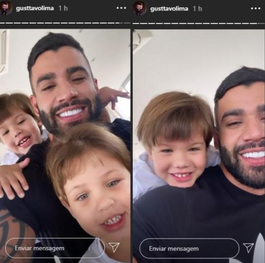 Após separação, Gusttavo Lima compartilha fotos com os filhos