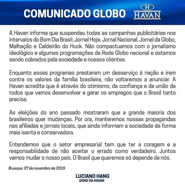 Aliado de Bolsonaro, dono da Havan suspende propagandas na Globo