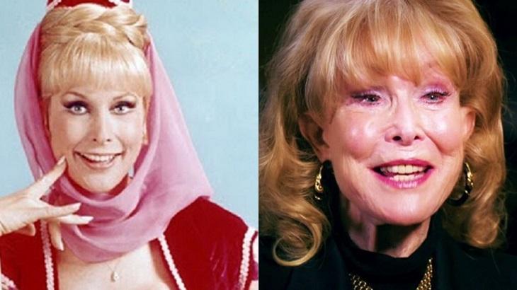 Montagem de Barbara Eden como Jeannie é um Gênio e atualmente