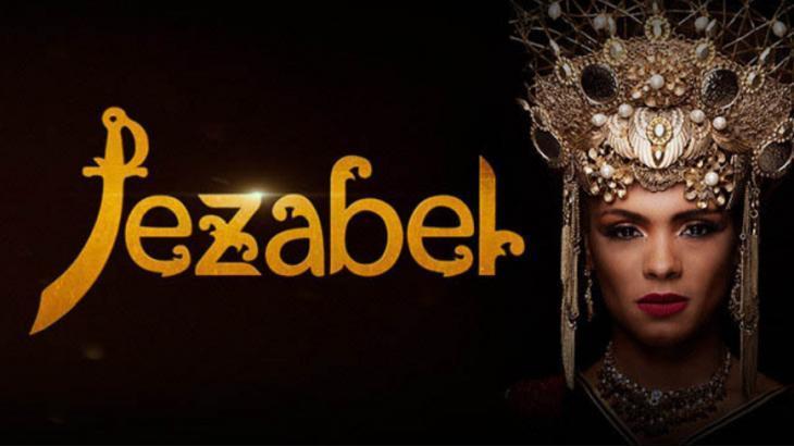 Logotipo de Jezabel com a protagonista caracterizada com a personagem.
