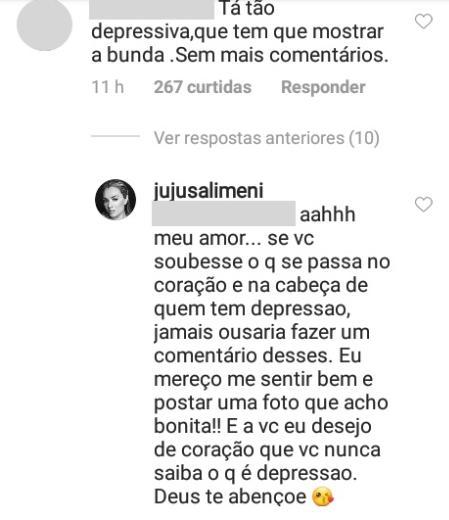"""Juju Salimeni aparece seminua, seguidor ironiza doença e ela responde: \""""Que nunca saiba o que é depressão\"""""""