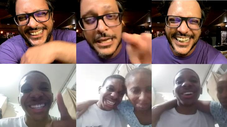 Lucas Penteado e Lúcio Mauro Filho conversando durante live