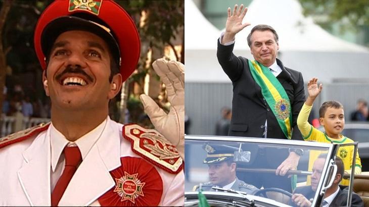 Montagem com a tela dividida com Camacho, personagem de Kubanacan e Jair Bolsonaro
