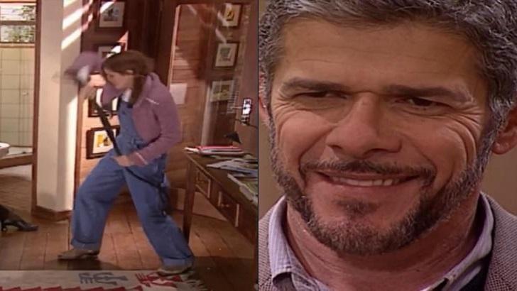 Montagem de cenas de Laços de Família com Íris com um chicote e Pedro sorrindo