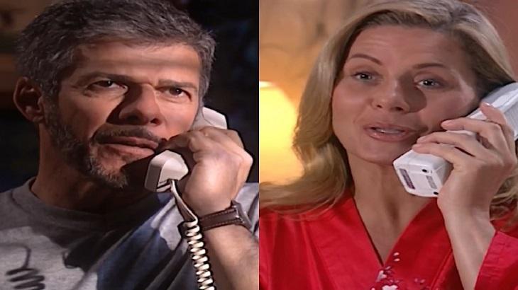 Montagem de fotos de cenas de Laços de Família com Helena e Pedro falando ao telefone