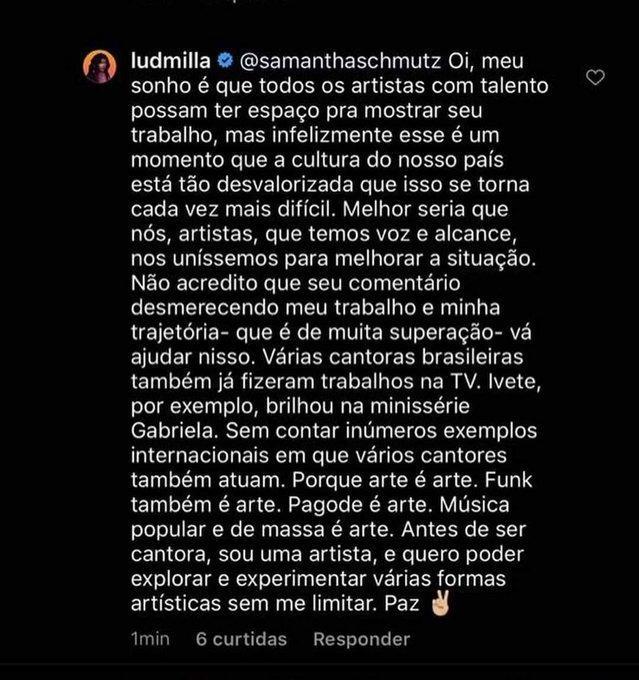 """Ludmilla responde Samantha Schmütz após crítica sobre participação em série: \""""Sou artista\"""""""