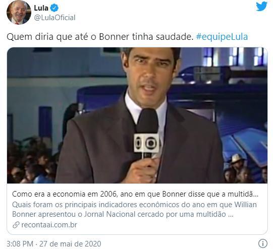 """Lula alfineta \""""saudade\"""" de 2006 de William Bonner: \""""Quem diria\"""""""