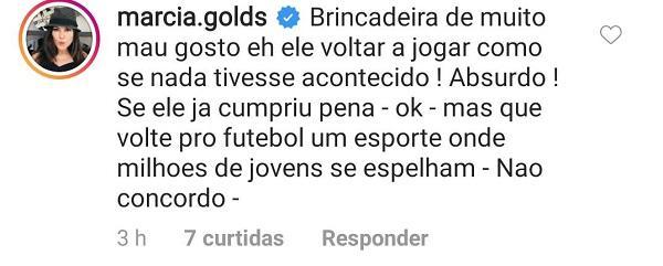 """Márcia Goldschmidt comenta possível volta de goleiro Bruno ao futebol: \""""Não concordo\"""""""