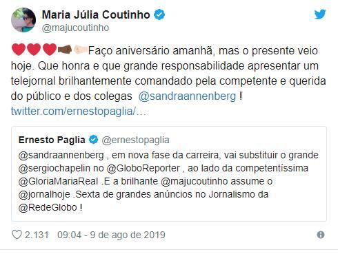 """Maju Coutinho se pronuncia sobre assumir \""""Jornal Hoje\"""": \""""Grande responsabilidade\"""""""