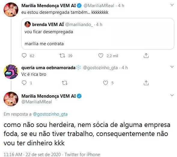 """Marília Mendonça responde fã que pediu emprego: \""""Estou desempregada também\"""""""