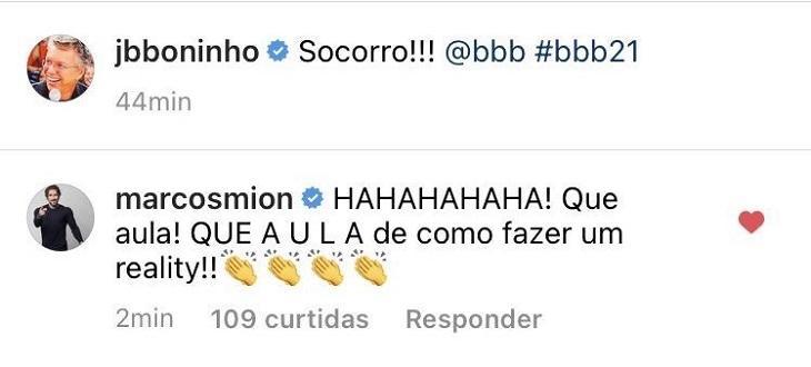 """Marcos Mion comenta Big Fone falso no BBB21 e provoca: \""""Aula de como fazer um reality\"""""""
